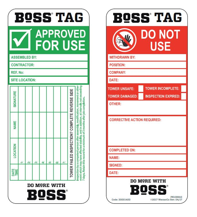 Boss Tag insert pack of 50